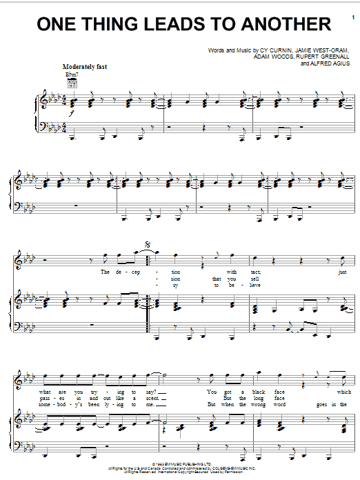 The Fixx One Thing Leads To Another sheet music notes and chords
