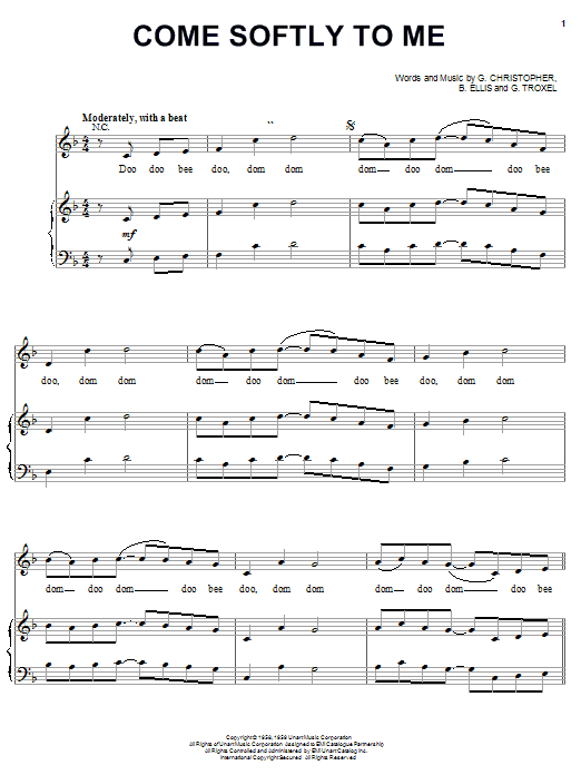 The Fleetwoods Come Softly To Me sheet music notes and chords