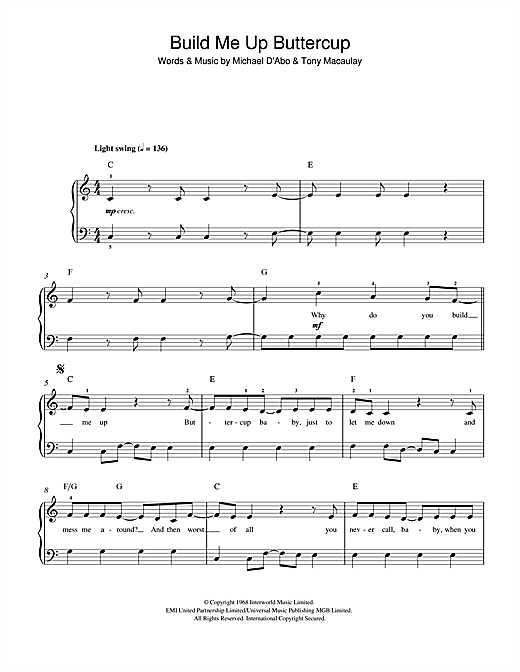 The Foundations Build Me Up Buttercup sheet music notes and chords