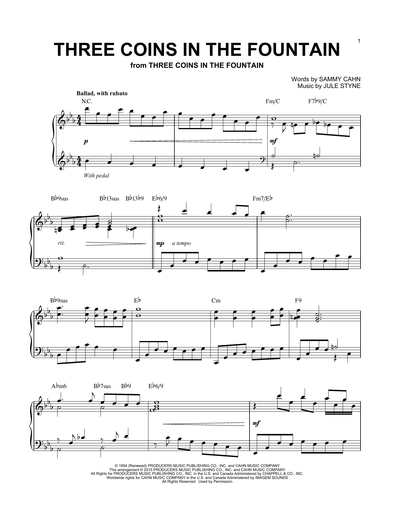The Four Aces Three Coins In The Fountain sheet music notes and chords