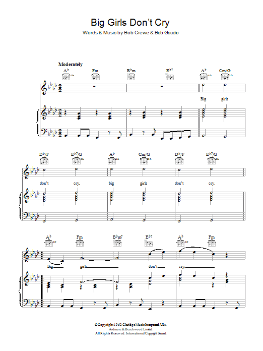 Frankie Valli & The Four Seasons Big Girls Don't Cry sheet music preview music notes and score for Piano, Vocal & Guitar (Right-Hand Melody) including 4 page(s)
