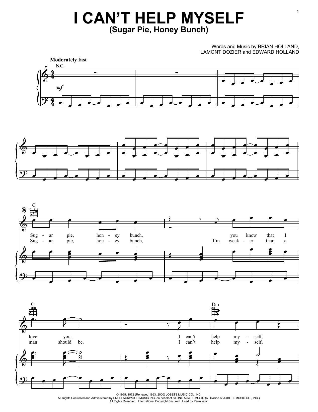 The Four Tops I Can't Help Myself (Sugar Pie, Honey Bunch) sheet music preview music notes and score for Guitar Tab including 6 page(s)