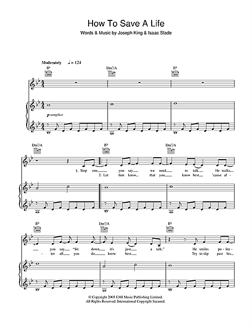 Download The Fray 'How To Save A Life' Digital Sheet Music Notes & Chords and start playing in minutes