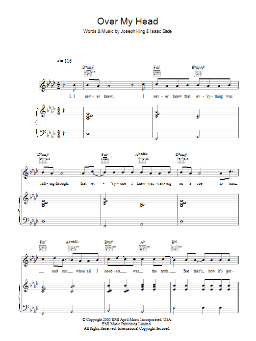The Fray Over My Head (Cable Car) sheet music preview music notes and score for Piano, Vocal & Guitar (Right-Hand Melody) including 7 page(s)