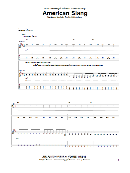 The Gaslight Anthem American Slang sheet music preview music notes and score for Guitar Tab including 11 page(s)