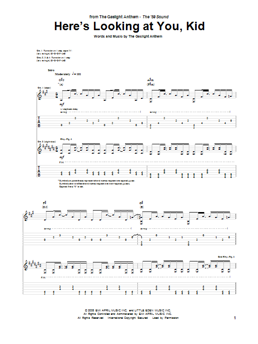 The Gaslight Anthem Here's Looking At You, Kid sheet music preview music notes and score for Guitar Tab including 16 page(s)