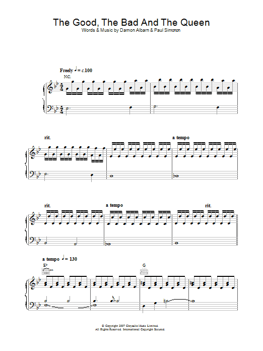 The Good, the Bad & the Queen The Good The Bad And The Queen sheet music preview music notes and score for Piano, Vocal & Guitar including 5 page(s)