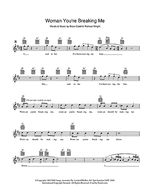 The Groop Woman You're Breaking Me sheet music preview music notes and score for Melody Line, Lyrics & Chords including 2 page(s)
