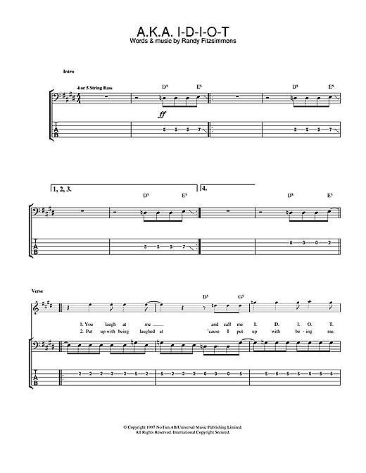 The Hives A.K.A. I-D-I-O-T sheet music notes and chords