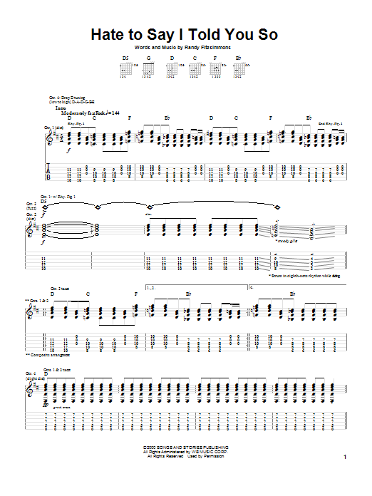 The Hives Hate To Say I Told You So sheet music preview music notes and score for Guitar Tab including 6 page(s)