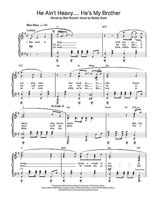 The Hollies He Ain't Heavy, He's My Brother sheet music notes and chords