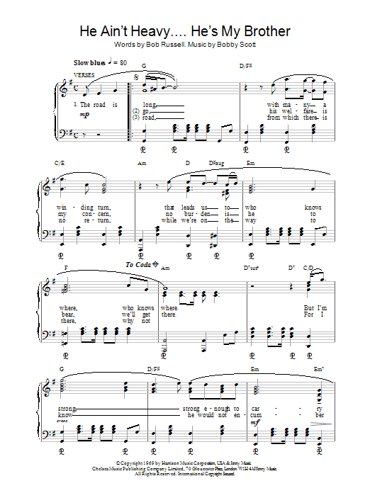 The Hollies He Ain't Heavy, He's My Brother sheet music preview music notes and score for Piano, Vocal & Guitar (Right-Hand Melody) including 4 page(s)