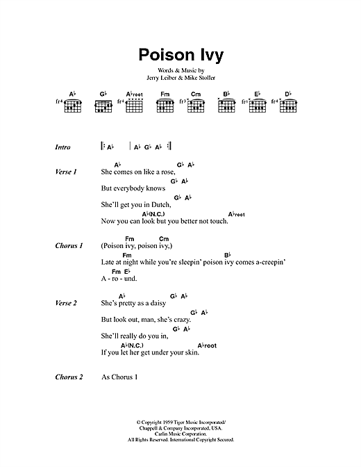 The Hollies Poison Ivy sheet music preview music notes and score for Lyrics & Chords including 2 page(s)
