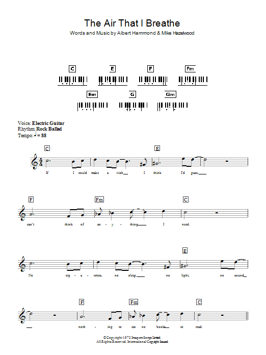 The Hollies The Air That I Breathe sheet music preview music notes and score for Lyrics & Chords including 2 page(s)