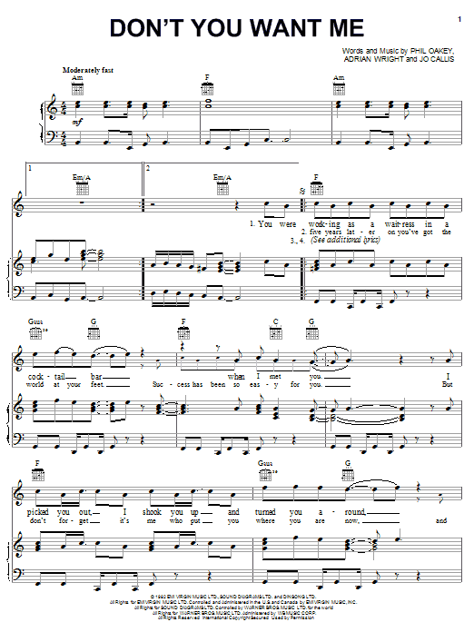 The Human League Don't You Want Me sheet music notes and chords