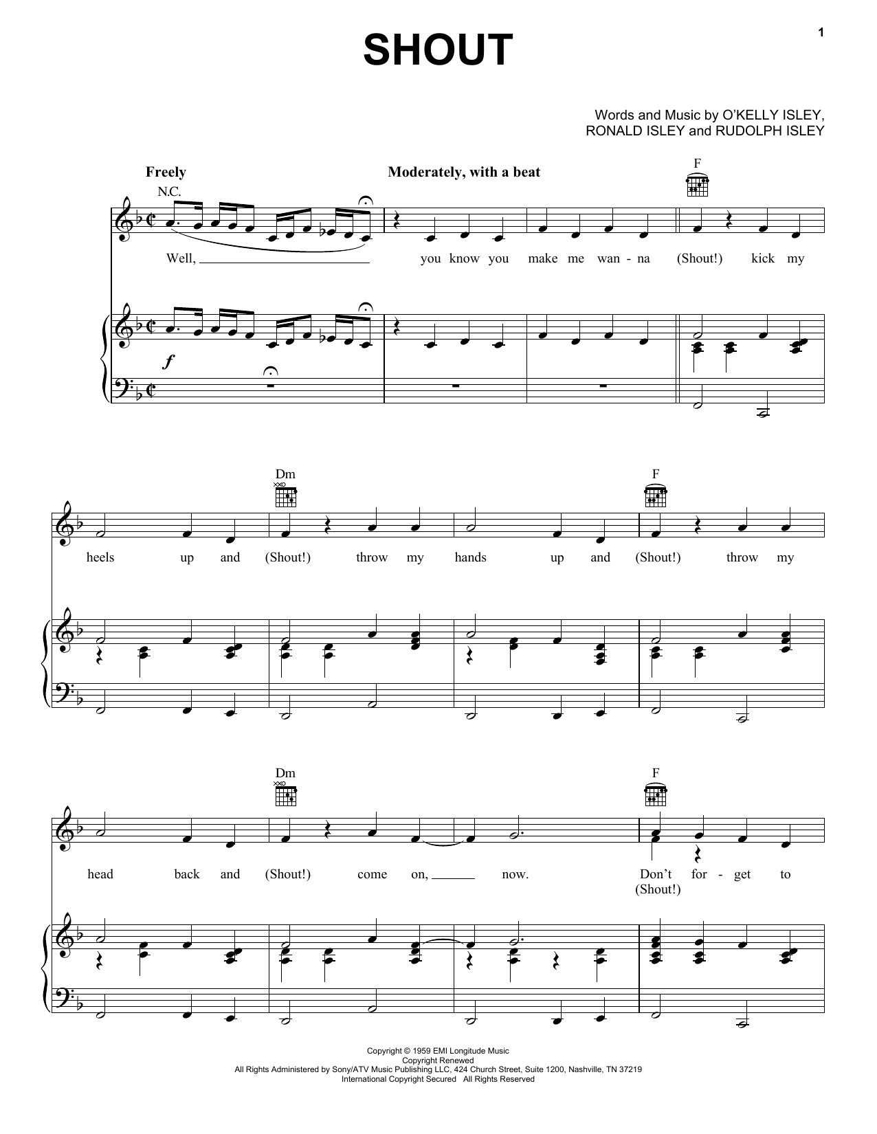 The Isley Brothers Shout sheet music preview music notes and score for Easy Guitar including 4 page(s)