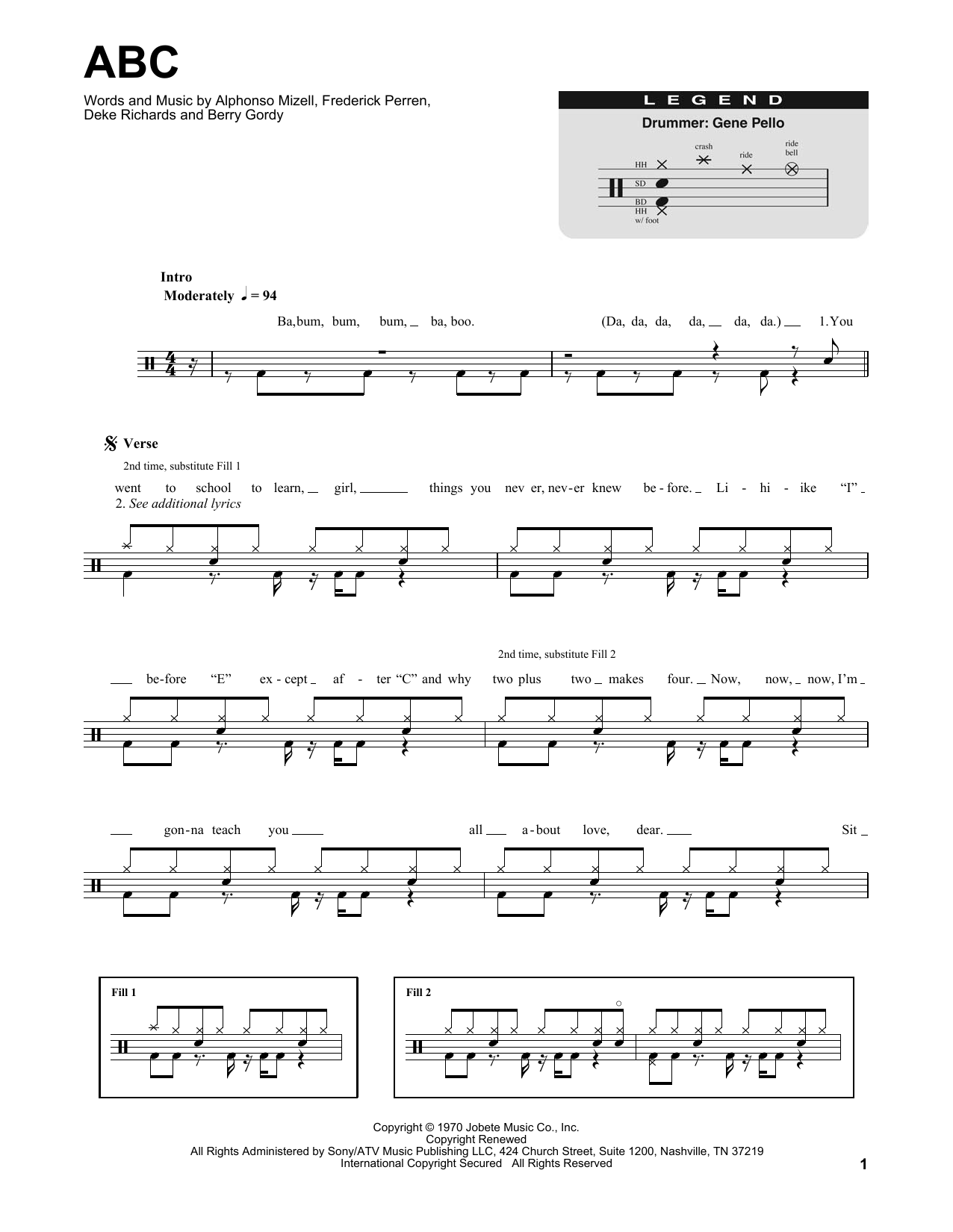 The Jackson 5 ABC sheet music preview music notes and score for E-Z Play Today including 4 page(s)