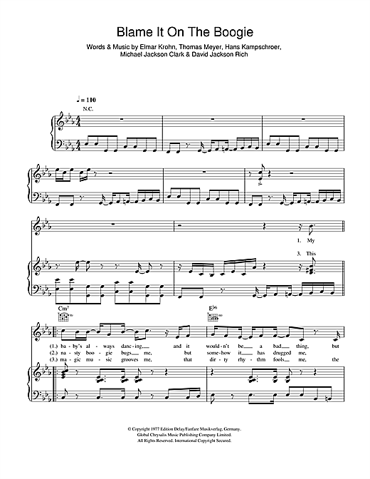Download The Jackson 5 'Blame It On The Boogie' Digital Sheet Music Notes & Chords and start playing in minutes