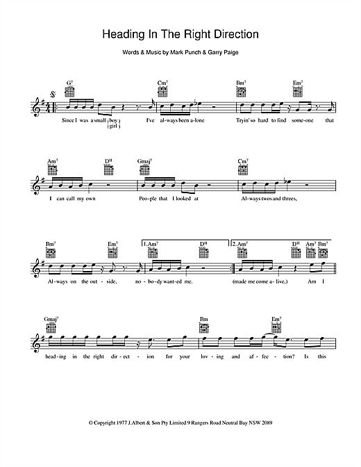 The Johnny Rocco Band Heading In The Right Direction sheet music preview music notes and score for Melody Line, Lyrics & Chords including 2 page(s)