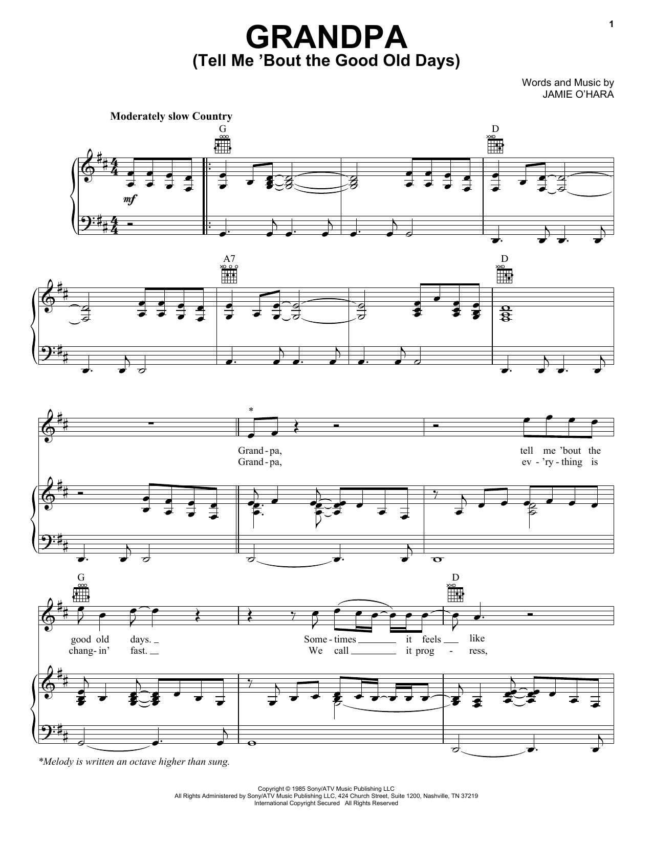 Download The Judds 'Grandpa (Tell Me 'Bout The Good Old Days)' Digital Sheet Music Notes & Chords and start playing in minutes