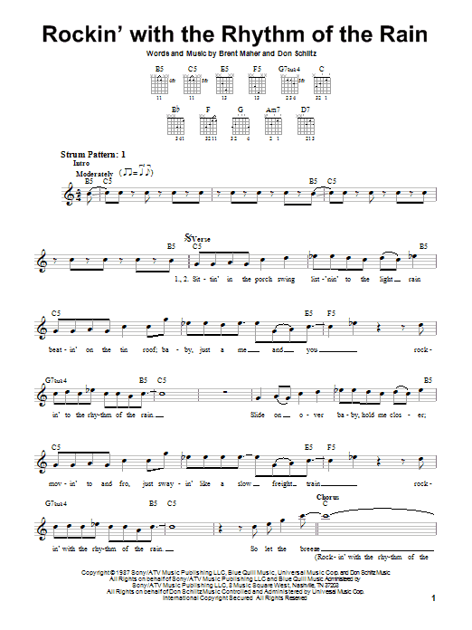 The Judds Rockin' With The Rhythm Of The Rain sheet music preview music notes and score for Easy Guitar including 2 page(s)