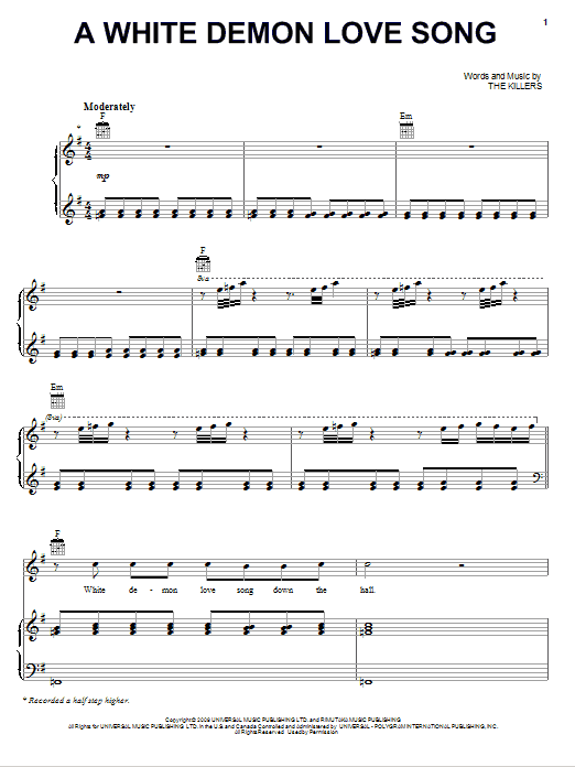 The Killers A White Demon Love Song sheet music preview music notes and score for Easy Piano including 6 page(s)
