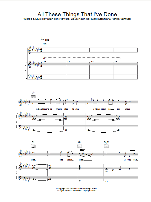 The Killers All These Things That I've Done sheet music preview music notes and score for Piano, Vocal & Guitar including 11 page(s)