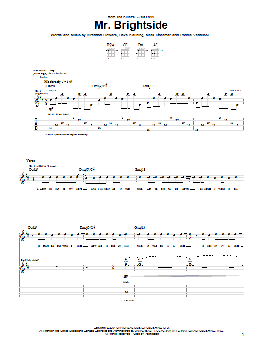 The Killers Mr. Brightside sheet music preview music notes and score for Guitar Tab including 6 page(s)