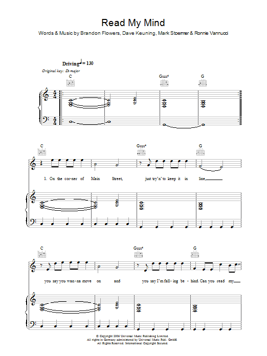The Killers Read My Mind sheet music preview music notes and score for Keyboard including 2 page(s)