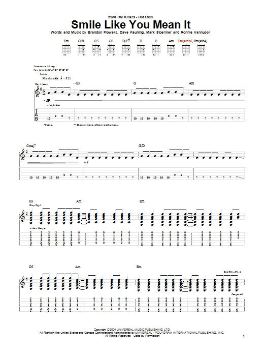 The Killers Smile Like You Mean It sheet music preview music notes and score for Guitar Tab including 6 page(s)
