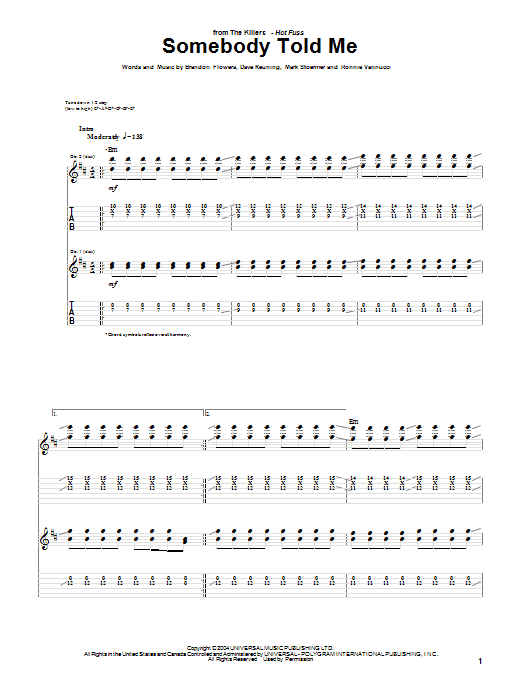 The Killers Somebody Told Me sheet music preview music notes and score for Piano, Vocal & Guitar (Right-Hand Melody) including 6 page(s)