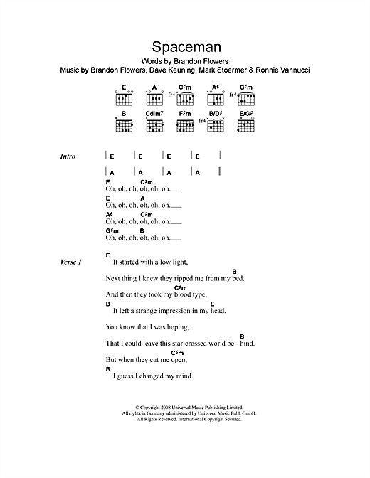 The Killers Spaceman sheet music notes and chords