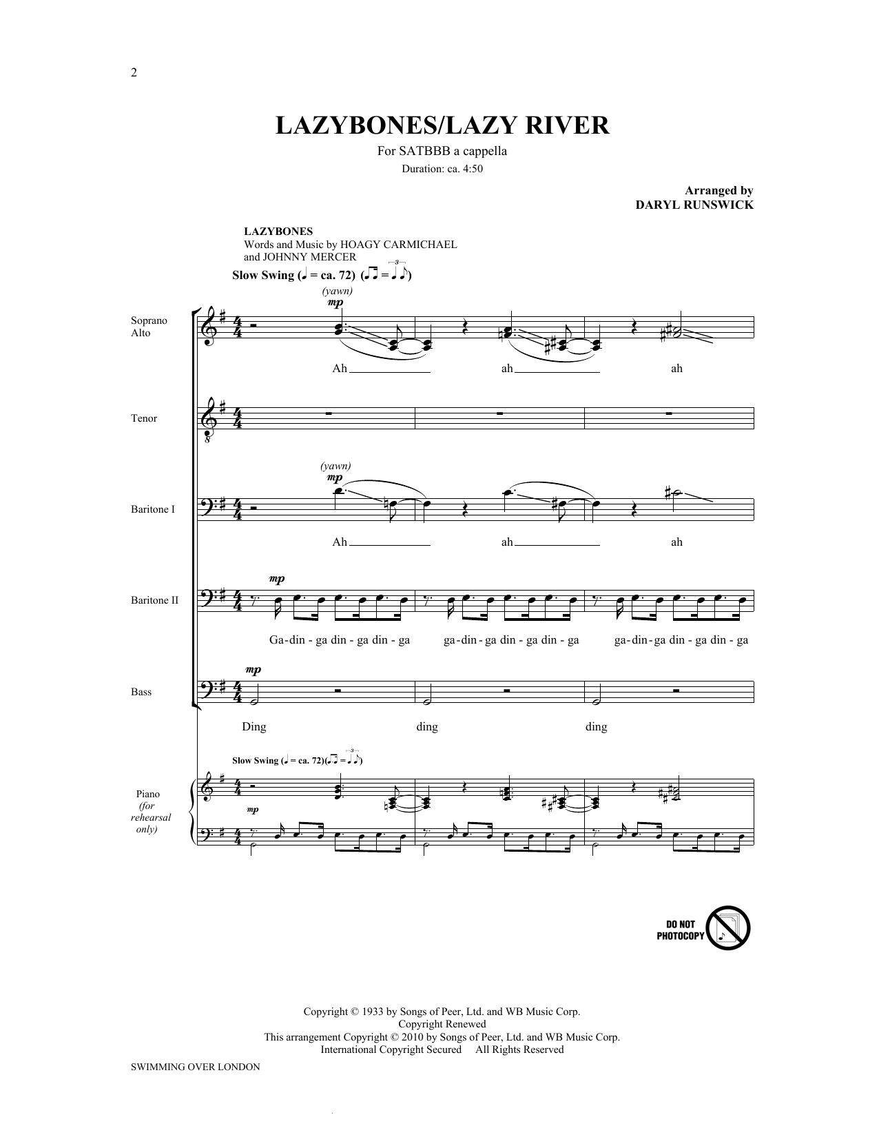 Download The King's Singers 'Lazybones / Lazy River (arr. Daryl Runswick)' Digital Sheet Music Notes & Chords and start playing in minutes