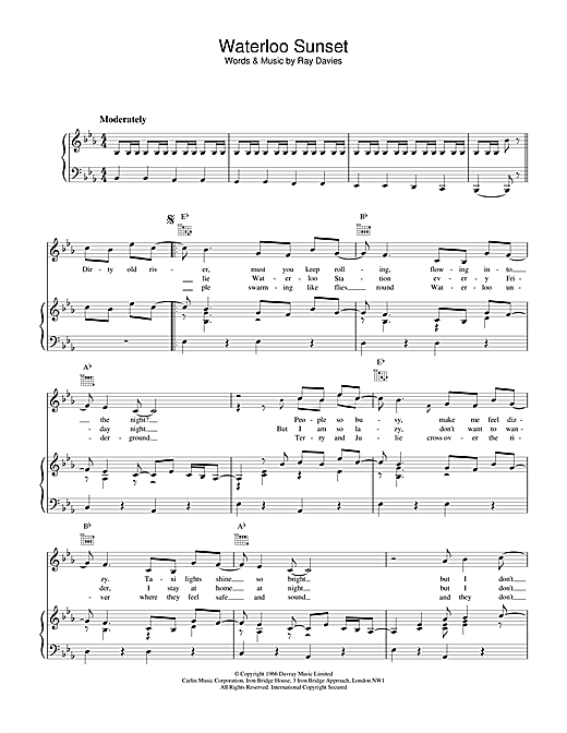 The Kinks Waterloo Sunset sheet music notes and chords