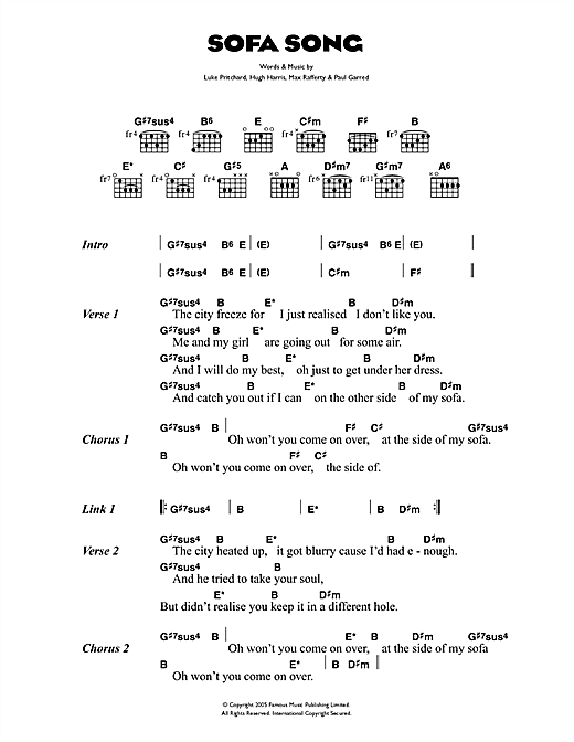 The Kooks Sofa Song sheet music notes and chords