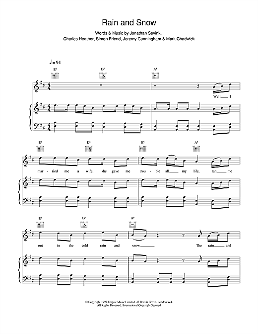 The Levellers Rain And Snow sheet music notes and chords