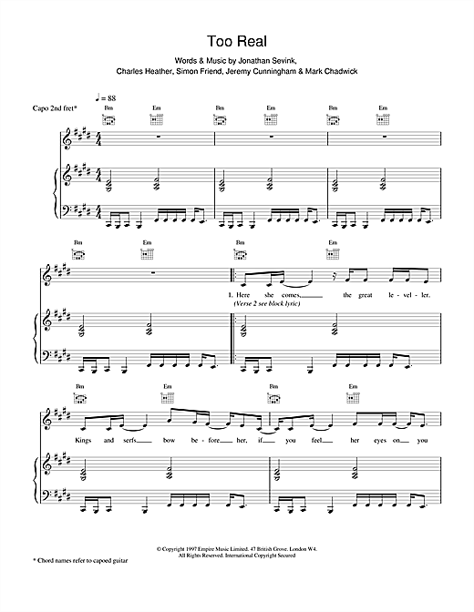 The Levellers Too Real sheet music notes and chords