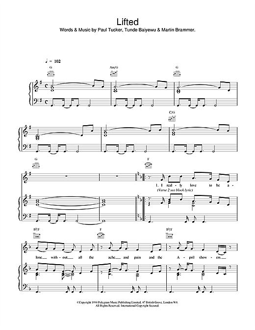 The Lighthouse Family Lifted sheet music notes and chords