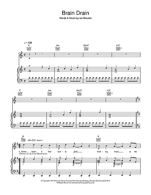 The Lightning Seeds Brain Drain sheet music notes and chords
