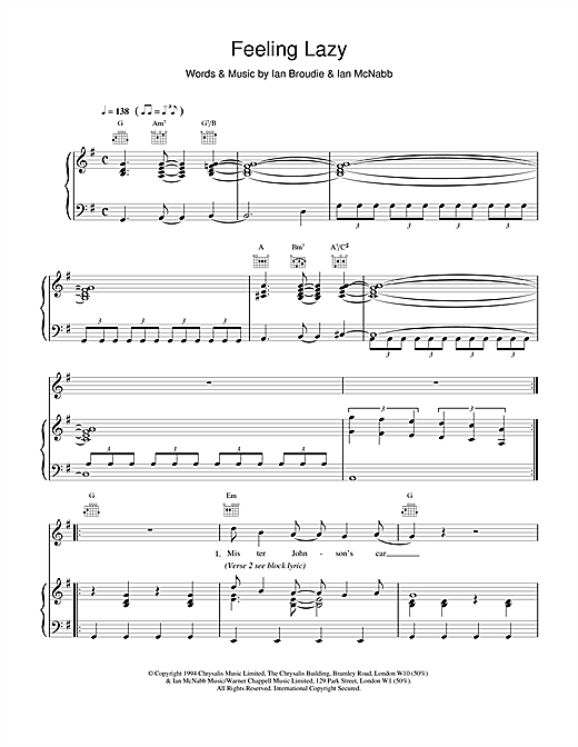 The Lightning Seeds Feeling Lazy sheet music notes and chords