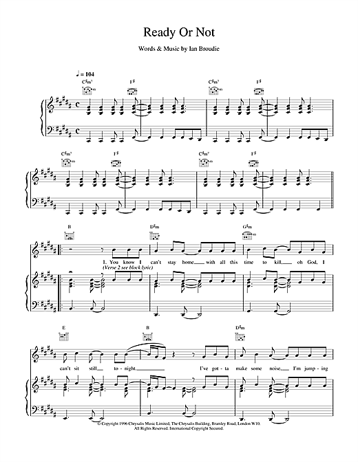 The Lightning Seeds Ready Or Not sheet music notes and chords