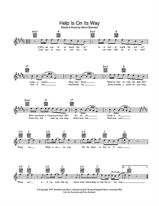 The Little River Band Help Is On Its Way sheet music preview music notes and score for Melody Line, Lyrics & Chords including 2 page(s)