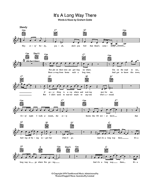 The Little River Band It's A Long Way There sheet music preview music notes and score for Melody Line, Lyrics & Chords including 2 page(s)