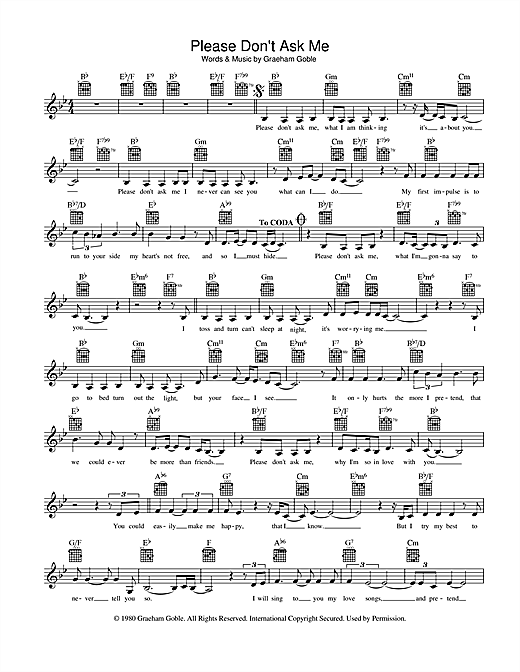 The Little River Band Please Don't Ask Me sheet music preview music notes and score for Melody Line, Lyrics & Chords including 2 page(s)
