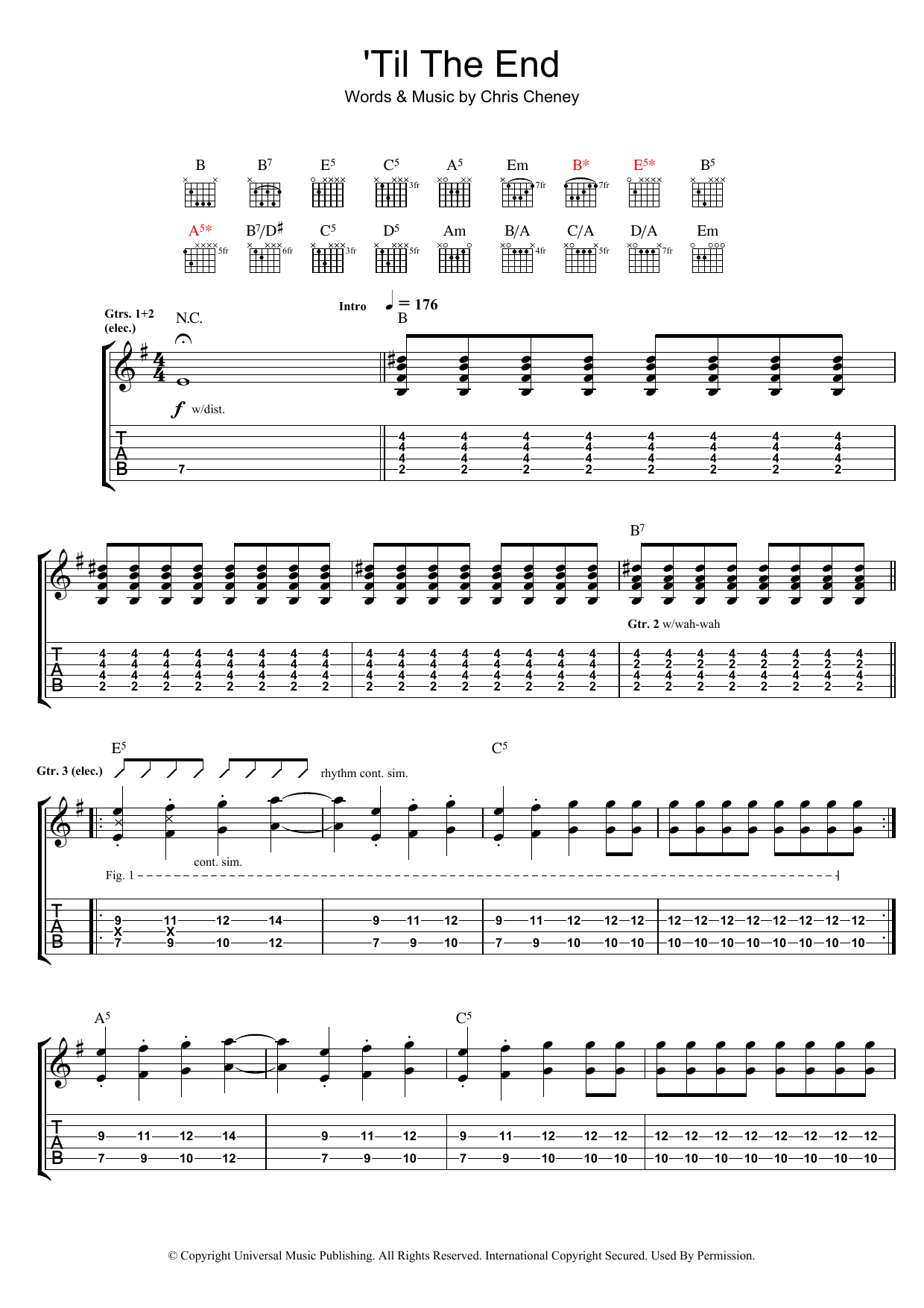 The Living End 'Til The End sheet music preview music notes and score for Guitar Tab including 8 page(s)