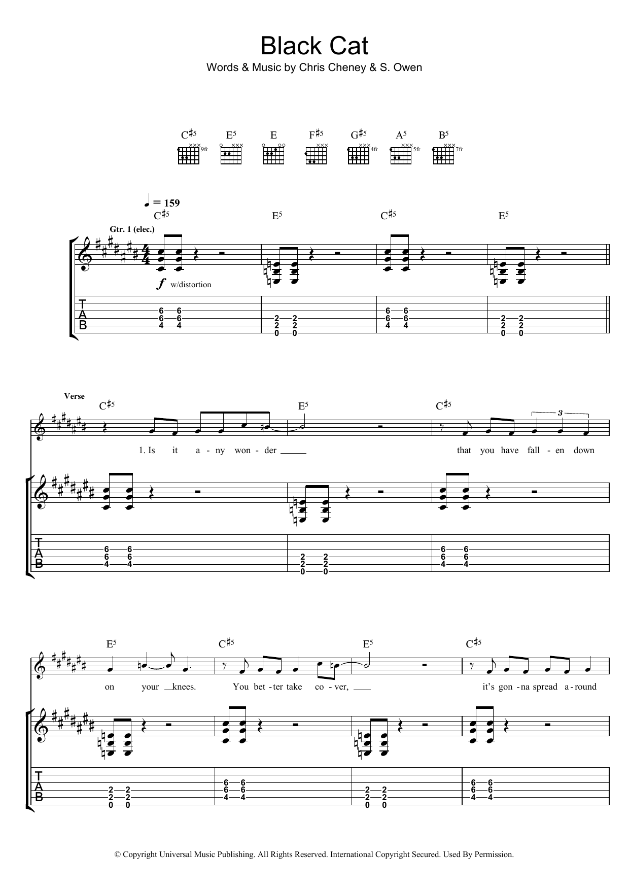 The Living End Black Cat sheet music preview music notes and score for Guitar Tab including 8 page(s)