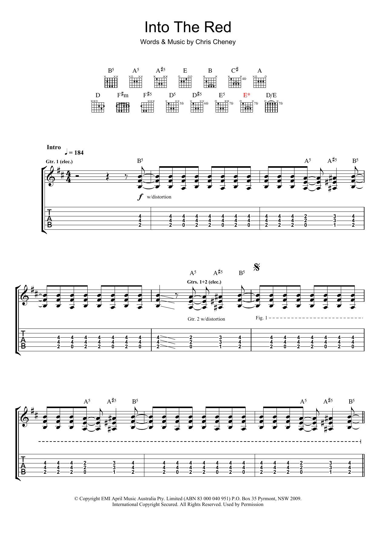 The Living End Into The Red sheet music preview music notes and score for Guitar Tab including 7 page(s)