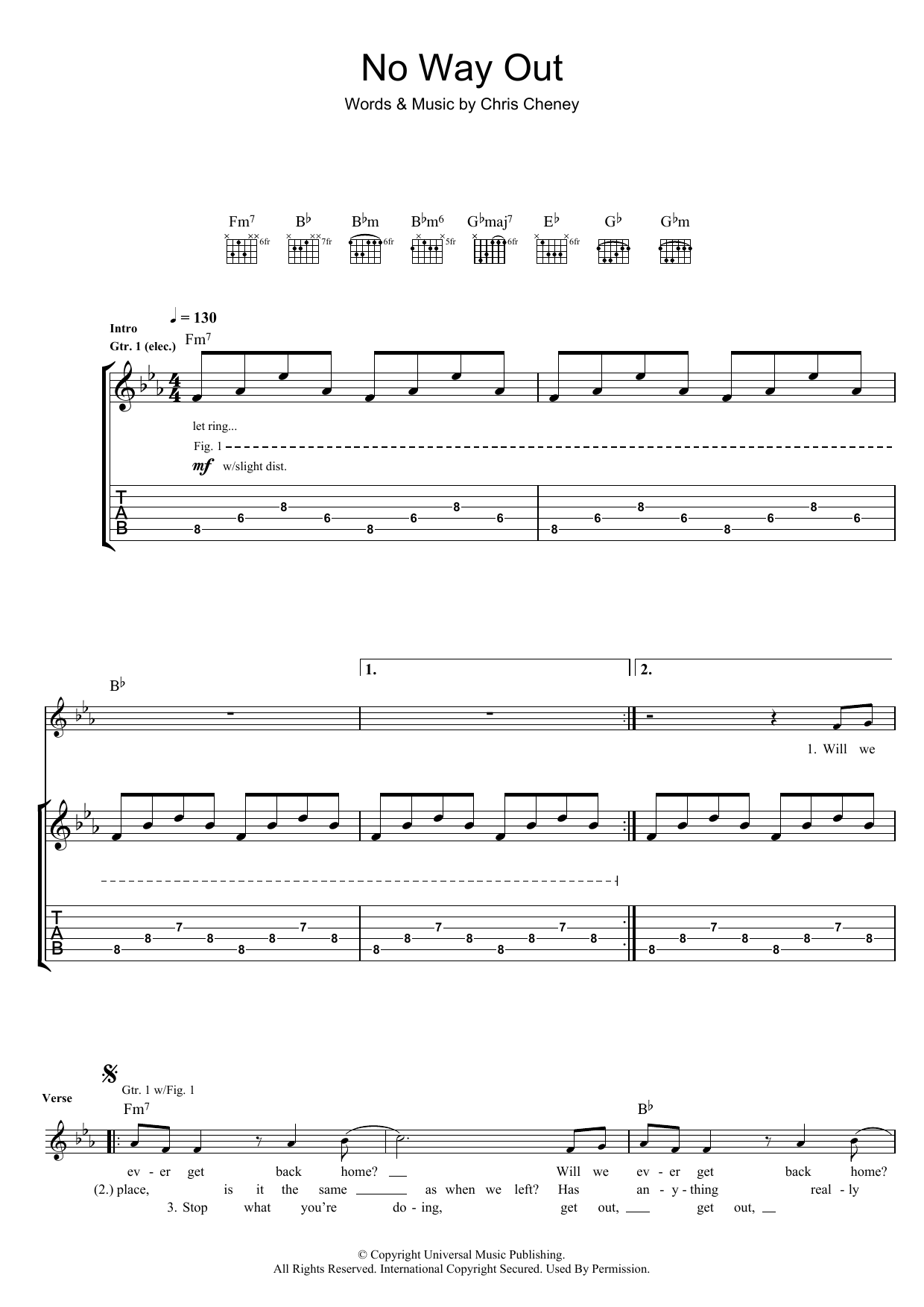 The Living End No Way Out sheet music preview music notes and score for Guitar Tab including 3 page(s)