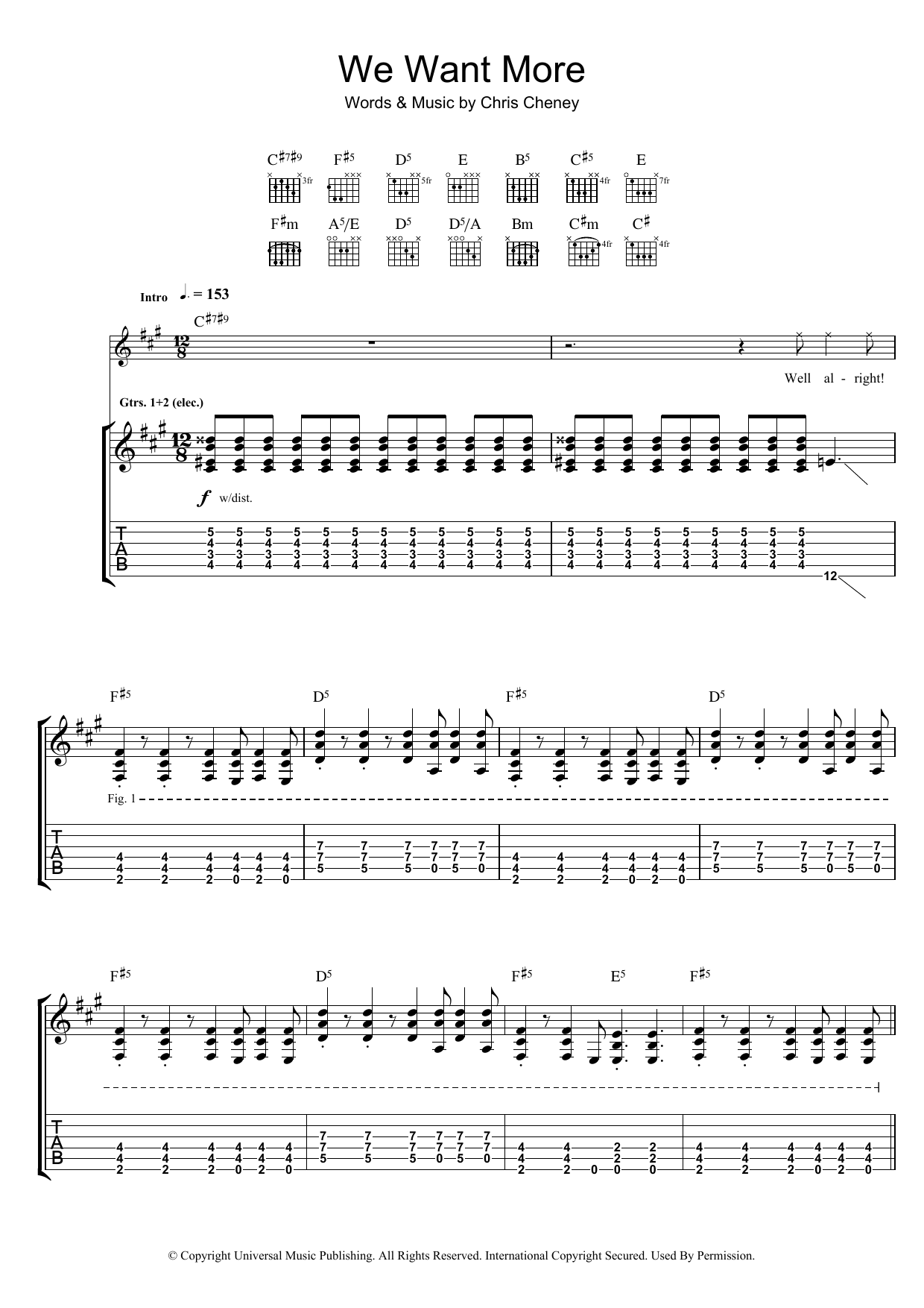 The Living End We Want More sheet music preview music notes and score for Guitar Tab including 7 page(s)