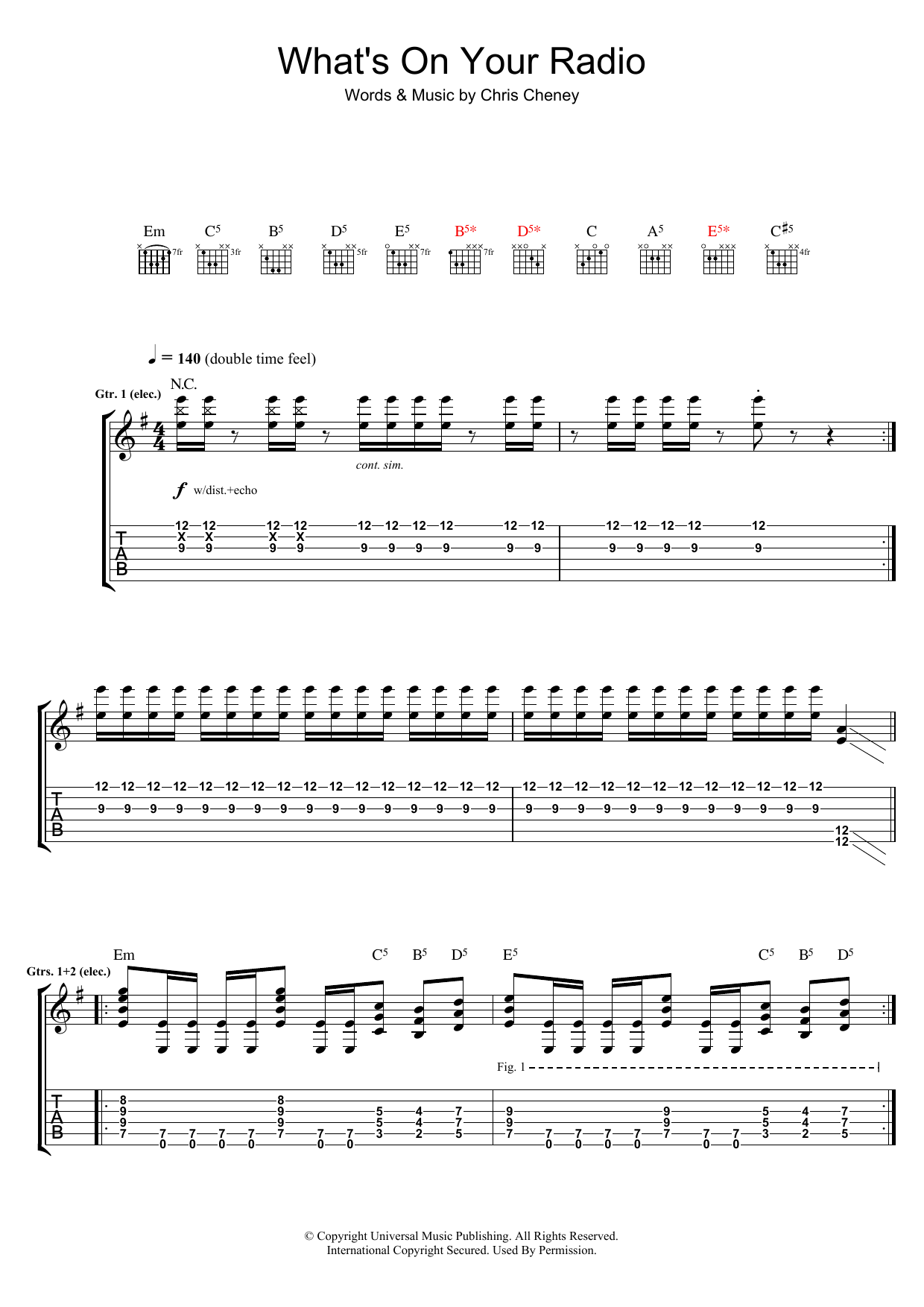 The Living End What's On Your Radio sheet music preview music notes and score for Guitar Tab including 8 page(s)